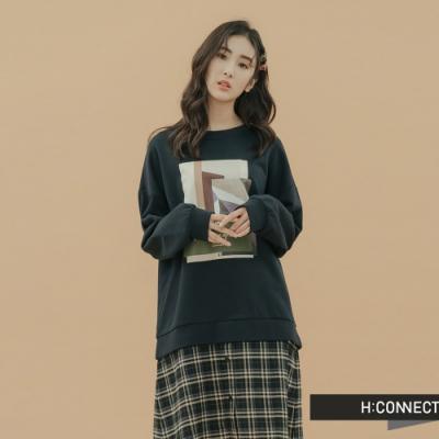H:CONNECT 韓國品牌 女裝-幾何圖印拼接洋裝-藍(快)