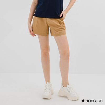 Hang Ten-女裝-REGULAR FIT打褶短褲-咖啡色