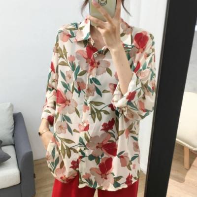 La Belleza紅色花朵綠葉印花燈籠袖雪紡開釦花花襯衫前短後長