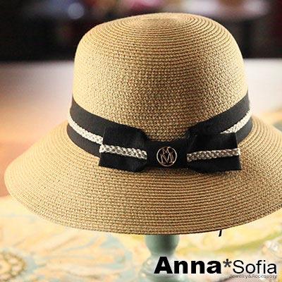 AnnaSofia 雙M圓釦黑結 防曬遮陽寬簷淑女帽草帽漁夫帽(駝系)