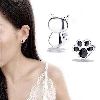 iSFairytale伊飾童話 貓咪蓋手印 貼耳銅電鍍耳環