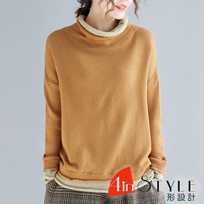 捲邊圓領撞色拼接針織上衣 (共三色)-4inSTYLE形設計