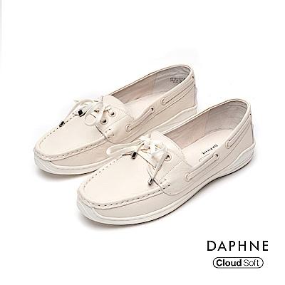 達芙妮DAPHNE 休閒鞋-真皮滾邊綁帶蝴蝶結休閒鞋-米白
