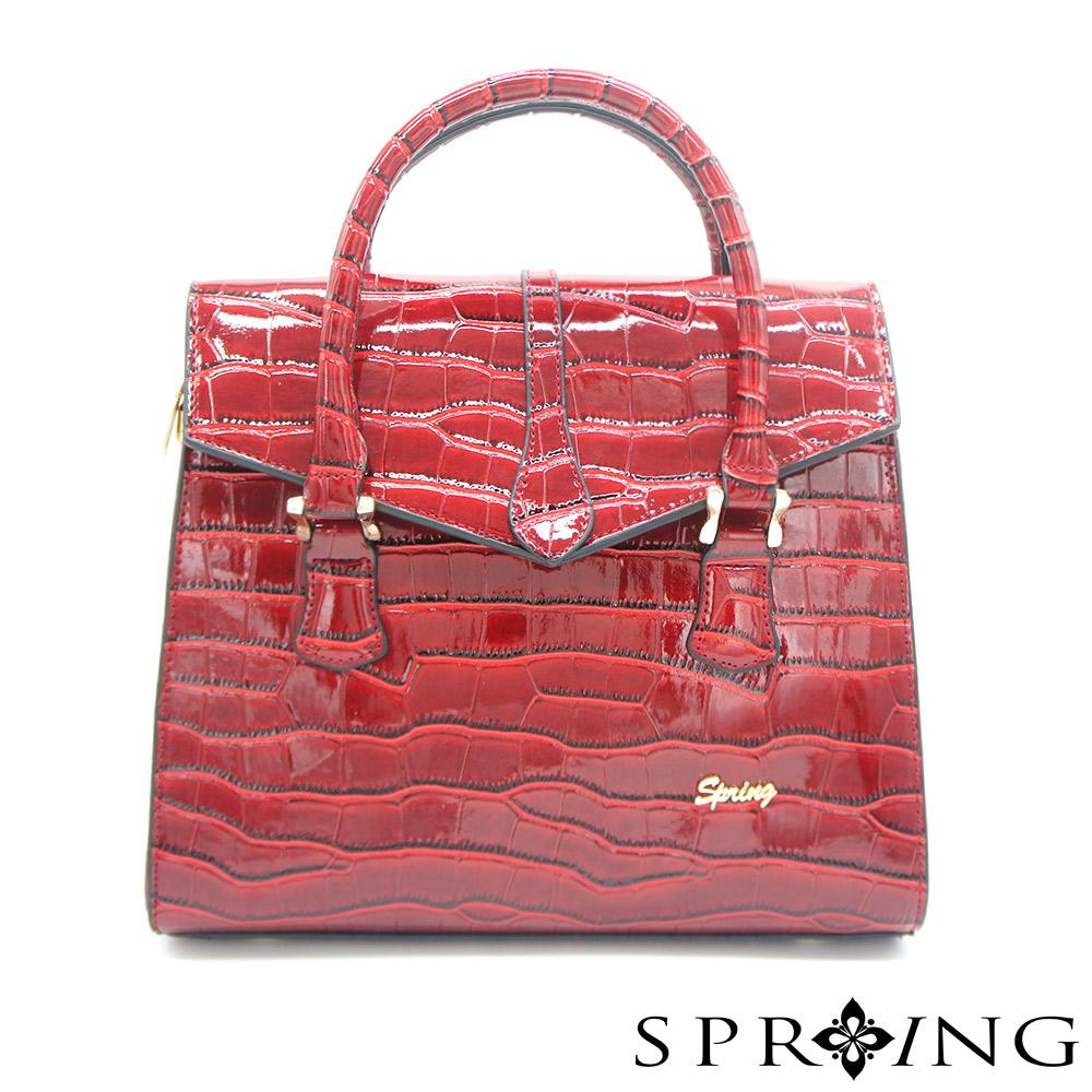 SPRING-燦爛的月光鱷魚壓紋托特包-貴氣紅