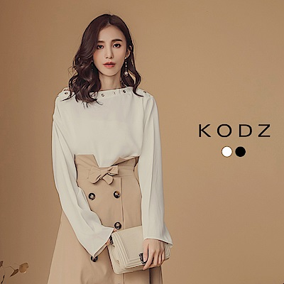 東京著衣-KODZ 韓國ONI領飾金屬環寬袖上衣-S.M.L(共二色)