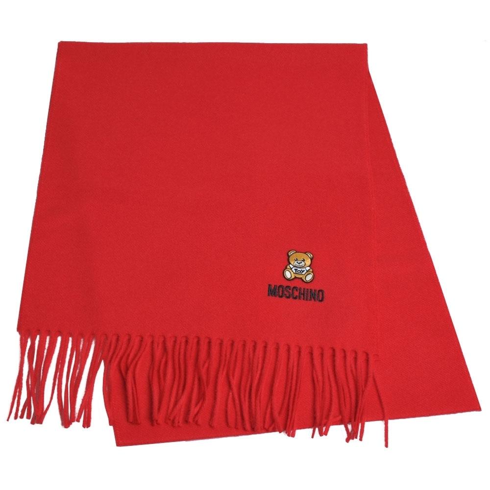 [時時樂限定]MOSCHINO 義大利製美麗諾羊毛小熊圖騰字母LOGO刺繡圍巾