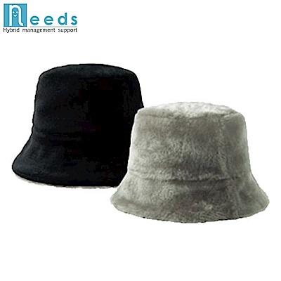 日本NEEDS好收納雙面戴羊毛絨毛保暖帽#674 あったかリバーシブル帽子(674140米/咖;674553黑/灰)