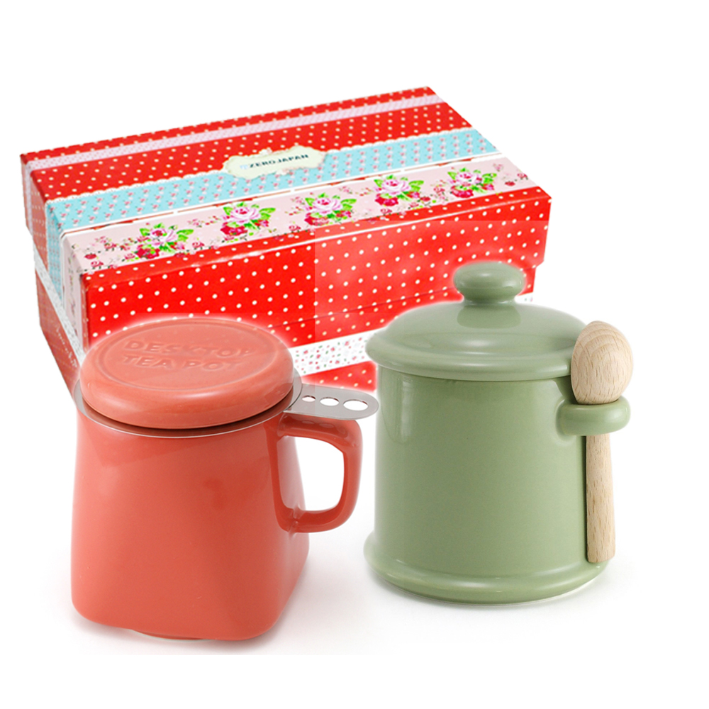 ZERO JAPAN 陶瓷儲物罐(大地綠)+泡茶馬克杯(蘿蔔紅)超值禮盒組
