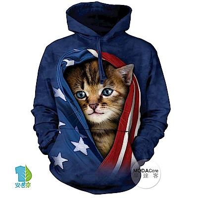 摩達客 美國The Mountain 愛國小貓 中性套頭長袖連帽T恤