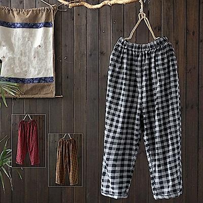 寬鬆格子棉哈倫褲休閒顯瘦九分-K1555-設計所在