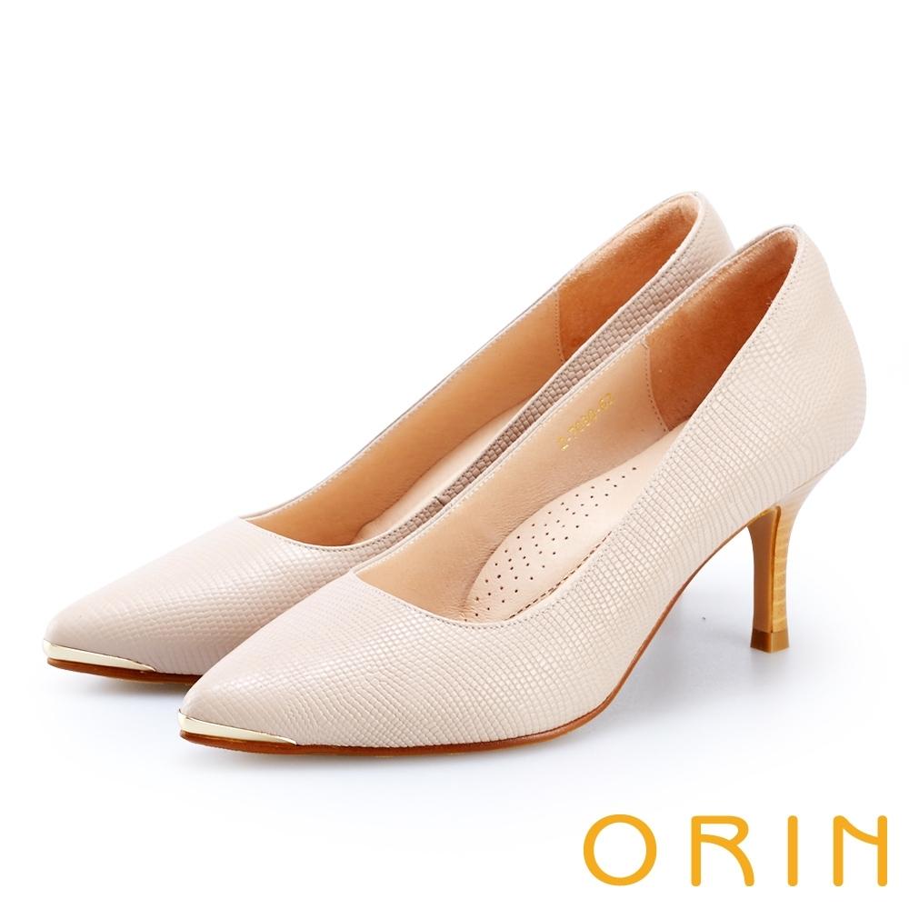 ORIN 底台鑲金壓紋牛皮高跟鞋 米色