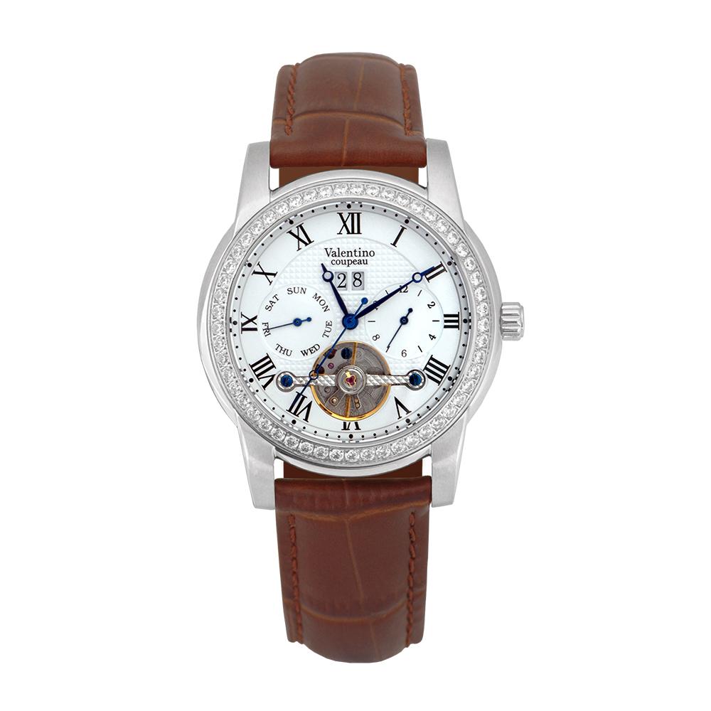 Valentino Coupeau 范倫鐵諾 古柏 閃耀晶橋機械錶 (白殻/白面/咖帶)