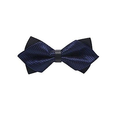 拉福  高檔尖角領結新郎結婚領結糾糾 (兒童藍黑斜紋)