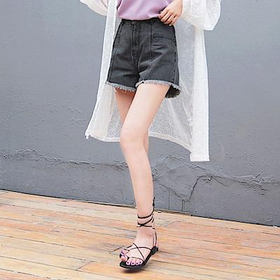 口袋剪裁設計下腳抽鬚高含棉牛仔短褲-OB大尺碼