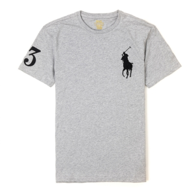 Polo Ralph Lauren 年度熱銷刺繡大馬圓領短袖素面T恤-灰色