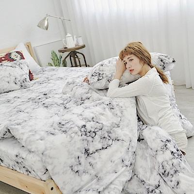 BUHO 柔絲絨單人床包+雙人薄被套三件組(質爵紋白)