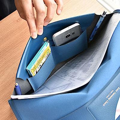 PLEPIC 職人皮革手拿文件包-海軍藍