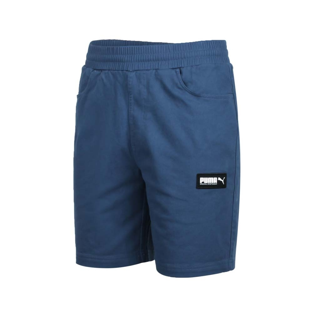 PUMA 男 基本系列8吋短褲 珊瑚藍黑白