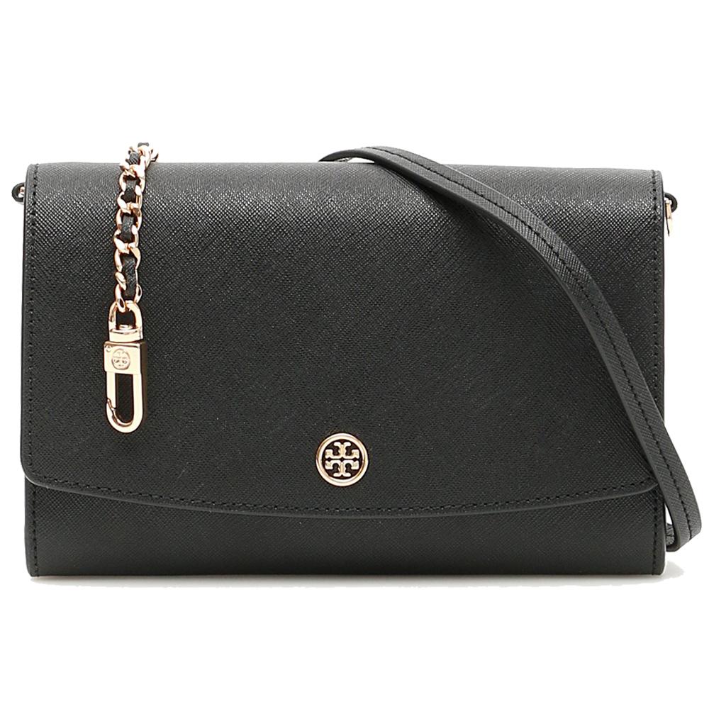 TORY BURCH  ROBINSON  品牌金屬LOGO皮革鏈帶手拿/斜背包(經典黑)