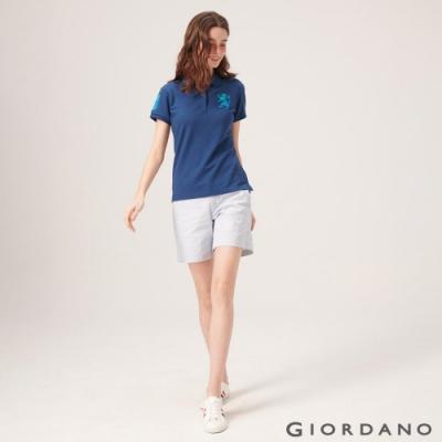 GIORDANO 女裝素色休閒卡其短褲-93 藍白條紋