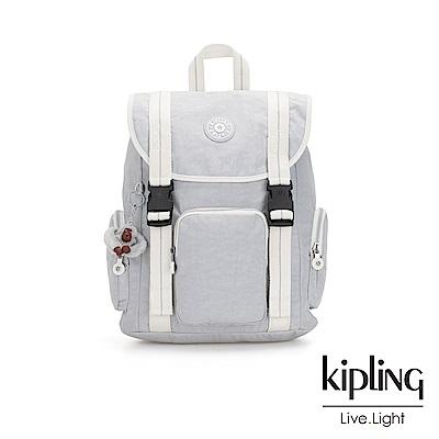 Kipling知性淺灰撞色插扣束口掀蓋式後背包-IZIR