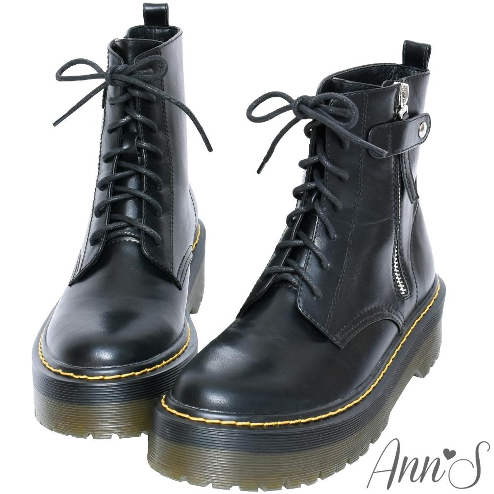 Ann'S韓星同款-臘繩綁帶側拉鍊厚底馬丁靴-黑