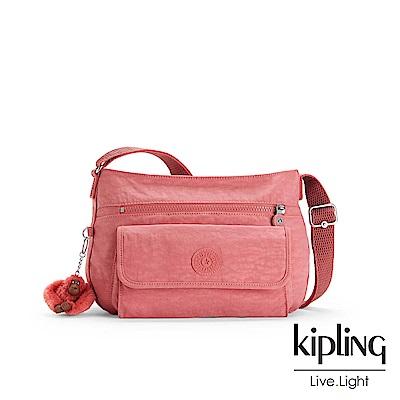Kipling薔薇粉掀蓋側背包