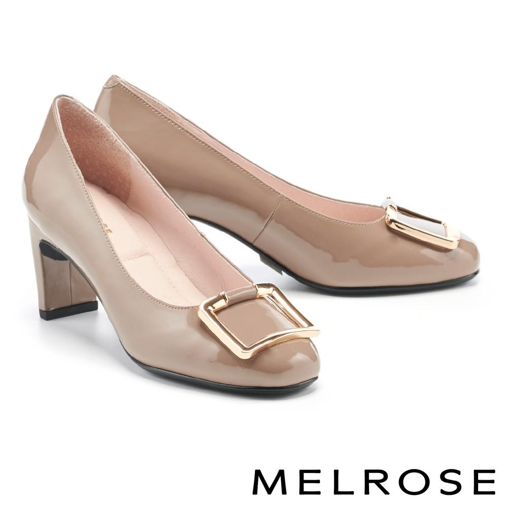高跟鞋 MELROSE 知性典雅金屬方釦微方頭高跟鞋-杏