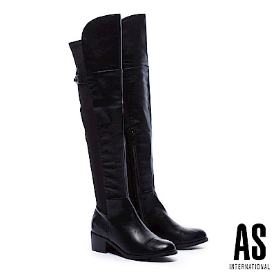 長靴 AS 極簡俐落異材質拼接皮革純色彈力高跟過膝長靴-黑