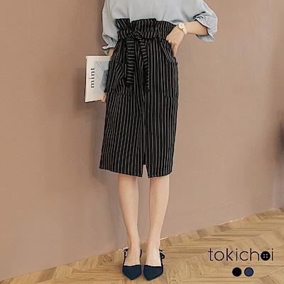 東京著衣 金秘書推薦直條紋附綁帶開衩花苞裙-S.M(共二色)