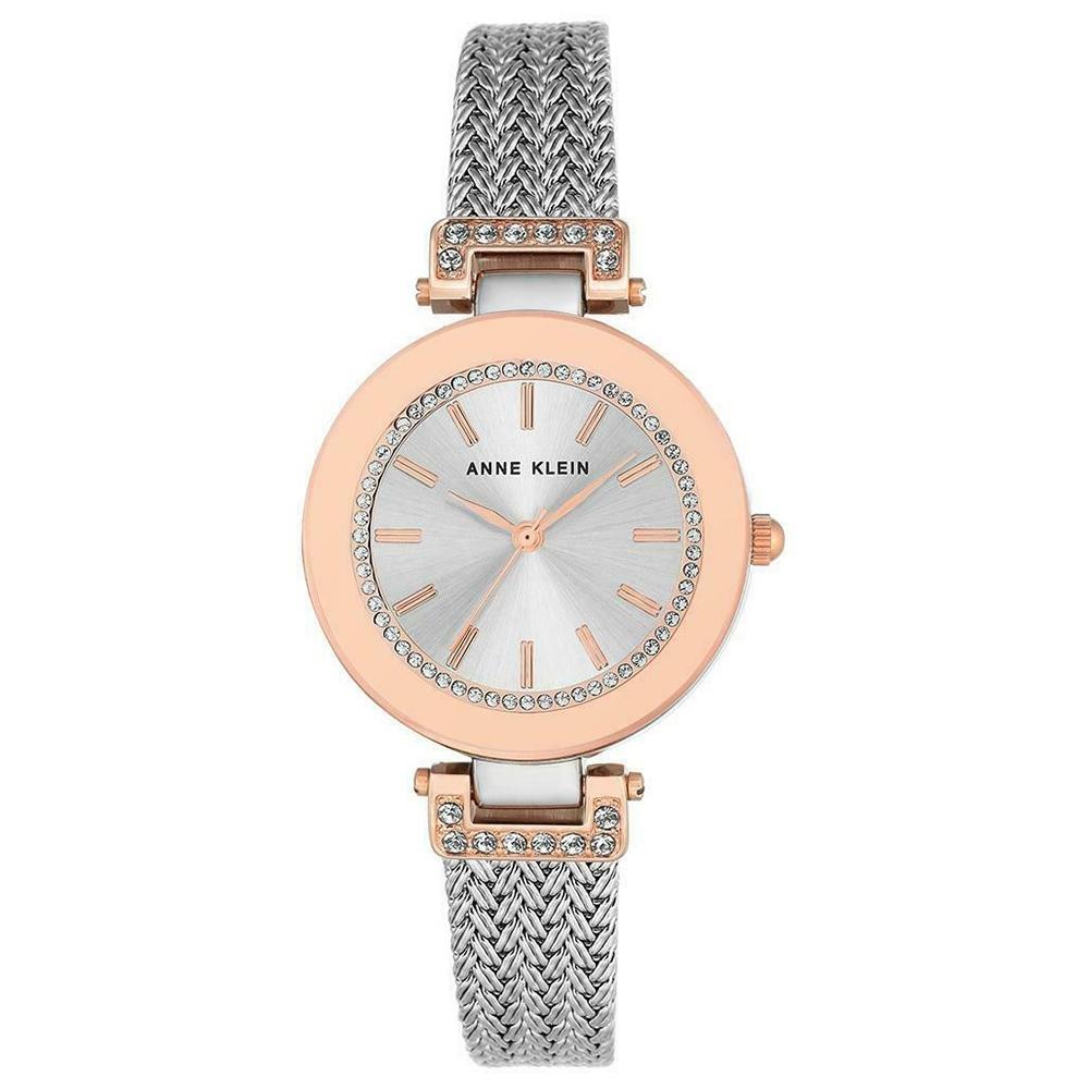Anne Klein 流光奢華復古珠寶設計風腕錶-銀x30mm