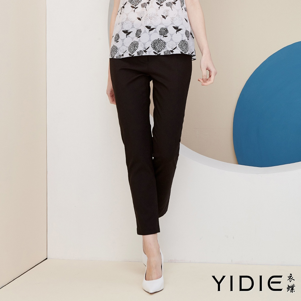 【YIDIE衣蝶】簡樸素面斜紋彈力褲-黑