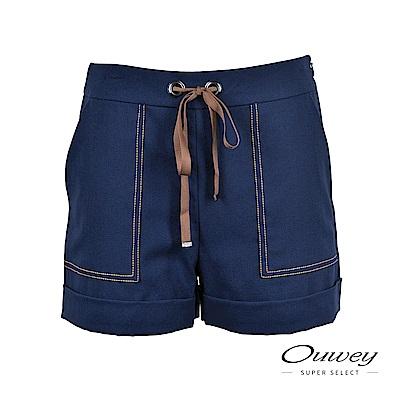OUWEY歐薇 海洋風繫繩反摺短褲(藍)