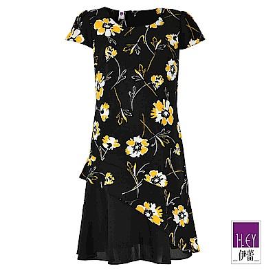ILEY伊蕾 撞色花卉小蓋袖印花洋裝(黑)