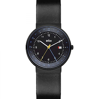 BRAUN德國百靈 經典GMT雙時區皮革錶 –黑色/40mm