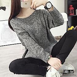 Jilli-ko 韓版純色鬆緊領針織衫-紅/深灰