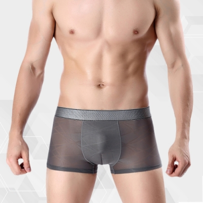 男內褲 涼感冰絲超輕薄織紋男內褲 質感灰 L-3XL ThreeShape