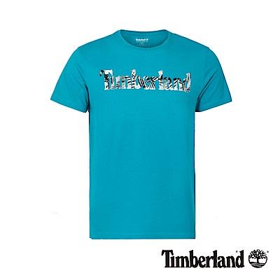 Timberland 男款藍綠色品牌圖案修身短袖T恤 A1M18