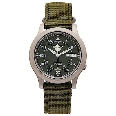 SEIKO 5號盾牌軍用綠色帆布機械手錶(SNK805K2)-綠面X綠色/37mm