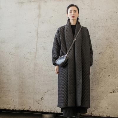 設計所在Style-森林系文藝格子壓棉中長版加厚棉衣外套
