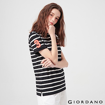 GIORDANO 女裝麋鹿漸層刺繡短袖POLO衫-91 標誌黑/皎雪條紋