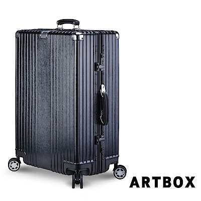 【ARTBOX】星光復古 29吋拉絲紋海關鎖鋁框行李箱(經典黑)