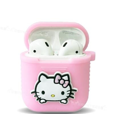 三麗鷗授權 Hello Kitty Apple Airpods 藍芽耳機盒保護套(凱蒂粉)