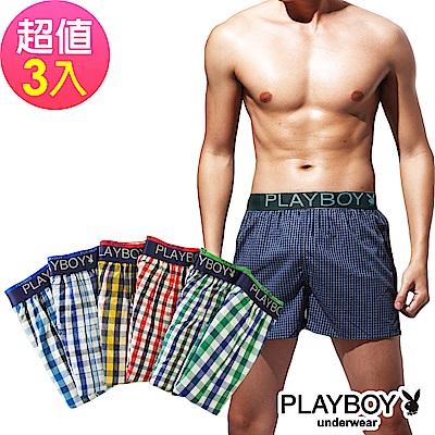 PlayBoy 舒適LOGO黑織帶五片式平口褲(3件組)