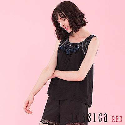 JESSICA RED - 流蘇圖騰設計無袖上衣背心(黑)