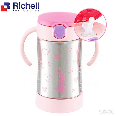 日本《Richell-利其爾》薇拉兔不鏽鋼吸管保溫杯-300ML