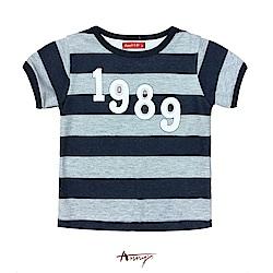 Annys1989休閒舒適寬條紋短袖上衣*0364藍