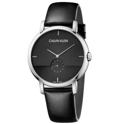 Calvin Klein CK 紳士簡約小秒針皮帶腕錶(K9H2X1C1)43mm