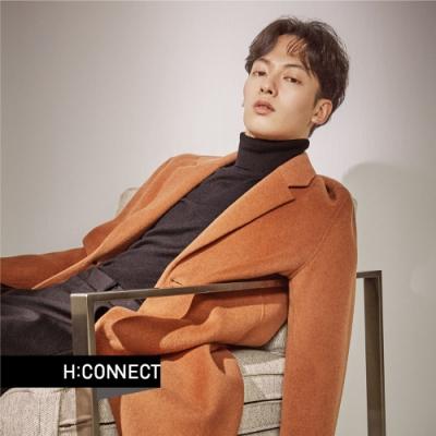 H:CONNECT 韓國品牌 男裝 - 修身翻領羊毛外套  - 咖啡