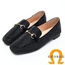 【GEORGE 喬治皮鞋】鉚釘釦飾方頭低跟包鞋-黑色